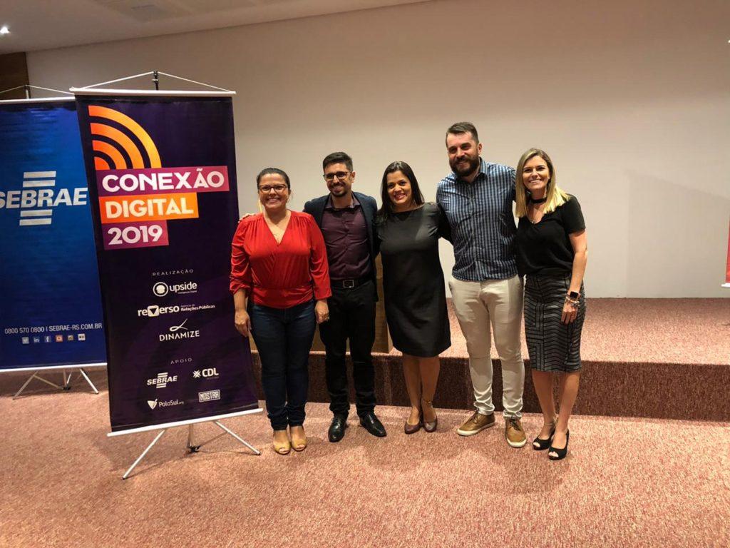 Tatiane Mizetti (Reverso Comunicação), Odolir Reginatto dos Santos (Agência Upside), Suelen Nunes (Dinamize), Rodrigo Bonfantil (SEBRAE) e Carolina Branchi (Dinamize)